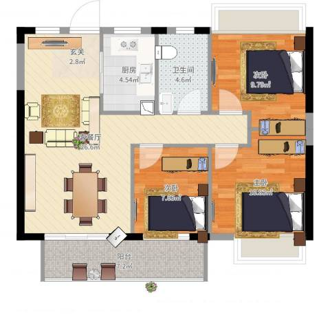 金辉城3室2厅1卫1厨100.00㎡户型图