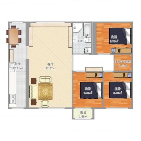福临家园3室1厅1卫1厨102.00㎡户型图