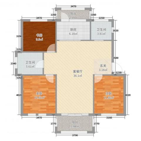 圣汐澜山3室2厅2卫1厨118.00㎡户型图