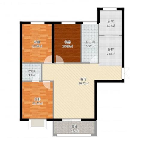 滨海国际3室1厅2卫1厨115.00㎡户型图