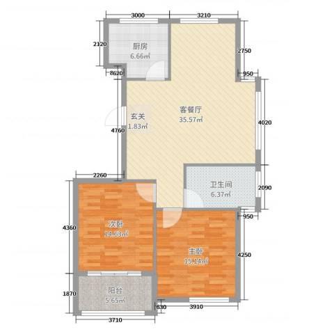 圣汐澜山2室2厅1卫1厨105.00㎡户型图