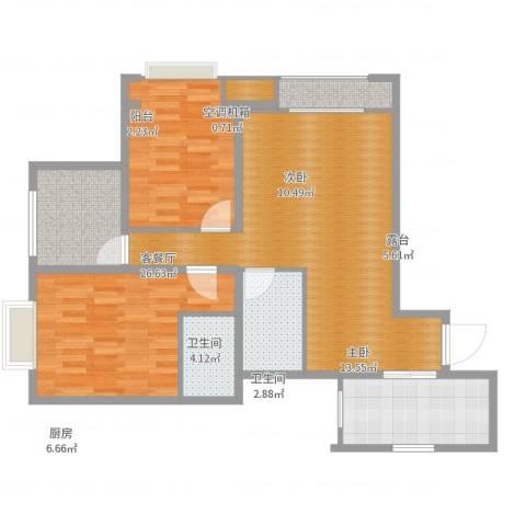 阳光满庭2室2厅2卫1厨91.00㎡户型图