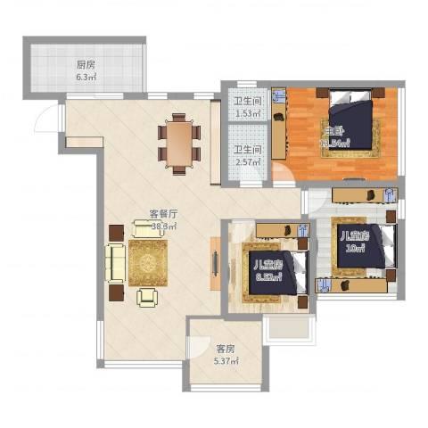 阳光满庭3室2厅2卫1厨108.00㎡户型图