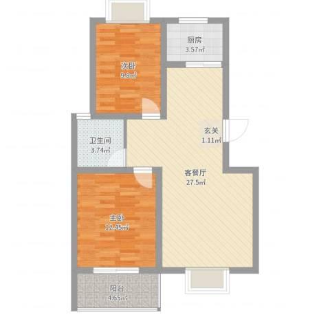 东方华城2室2厅1卫1厨77.00㎡户型图