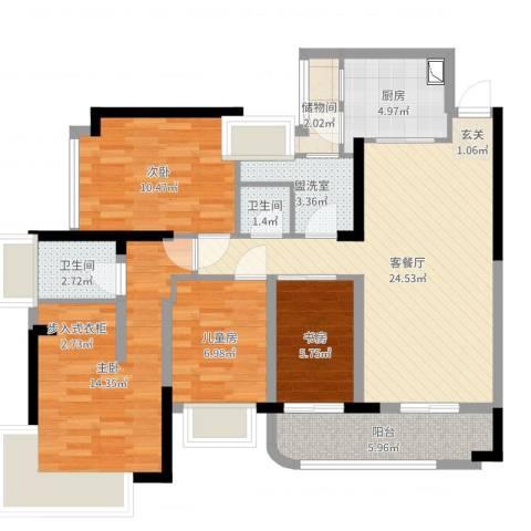 凯茵新城雅湖半岛4室4厅2卫1厨103.00㎡户型图