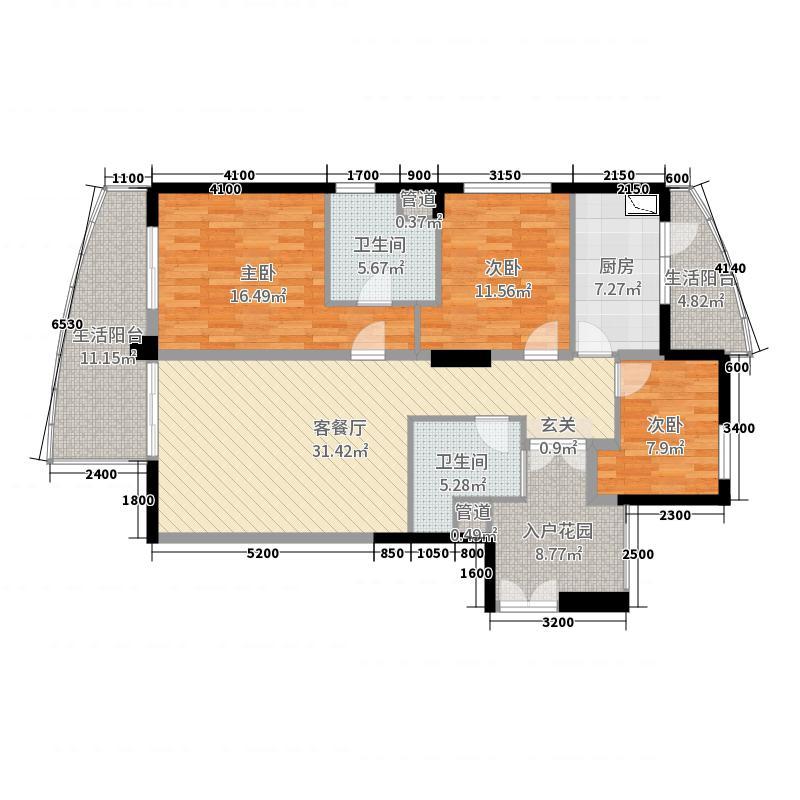 蓝海华庭135.54㎡ah户型3室3厅2卫1厨