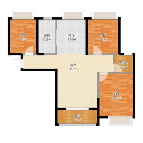 广电兰亭荣荟3室1厅1卫1厨98.00㎡户型图