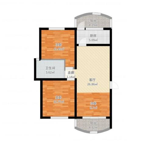 龙阳花苑三期2室1厅1卫1厨88.00㎡户型图