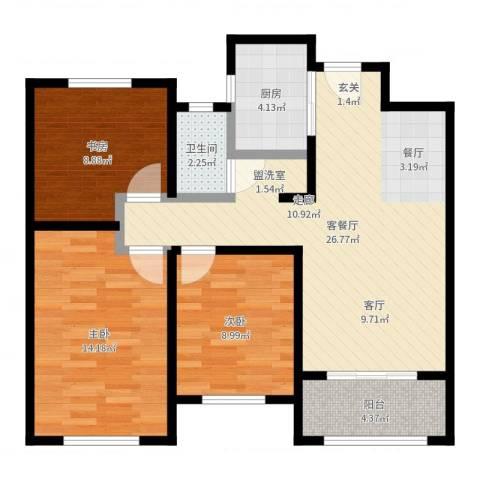 香榭水岸3室2厅1卫1厨87.00㎡户型图