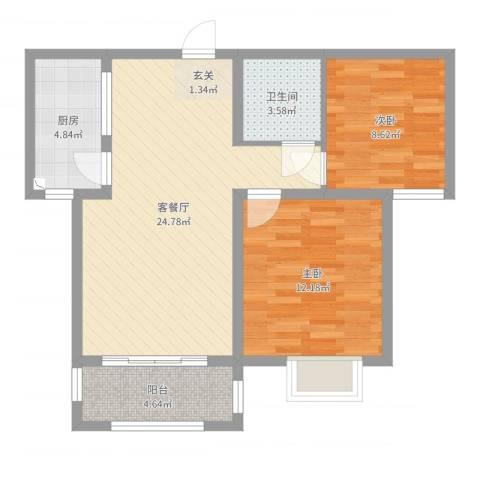 滨港龙湾2室2厅1卫1厨73.00㎡户型图