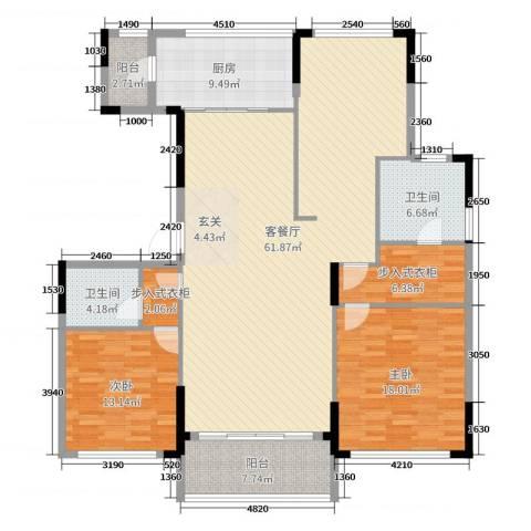 金地澜悦2室2厅2卫1厨160.00㎡户型图