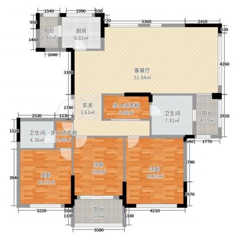 金地澜悦3室2厅2卫1厨160.00㎡户型图