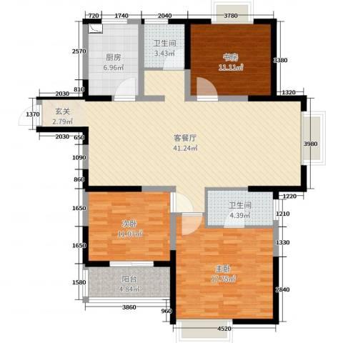 山水湖滨花园二期3室2厅2卫1厨126.00㎡户型图