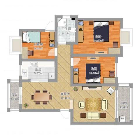 安粮中央花园3室2厅1卫1厨108.00㎡户型图