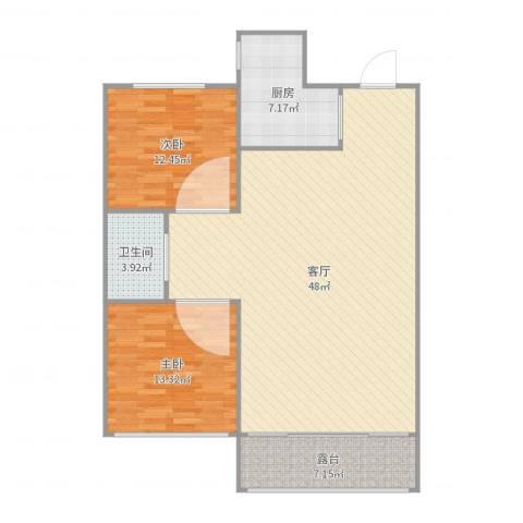 碧桂园银河城锦园2室1厅1卫1厨115.00㎡户型图