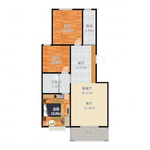 向阳雅园3室2厅1卫1厨112.00㎡户型图