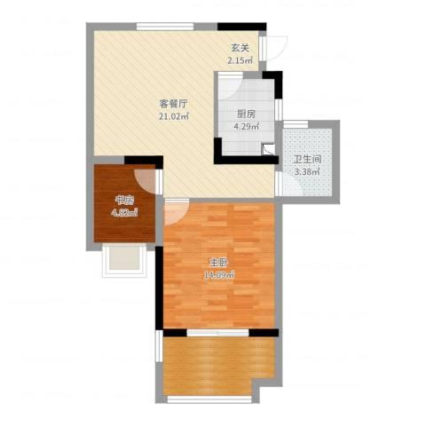 涨浦景苑2室2厅1卫1厨67.00㎡户型图