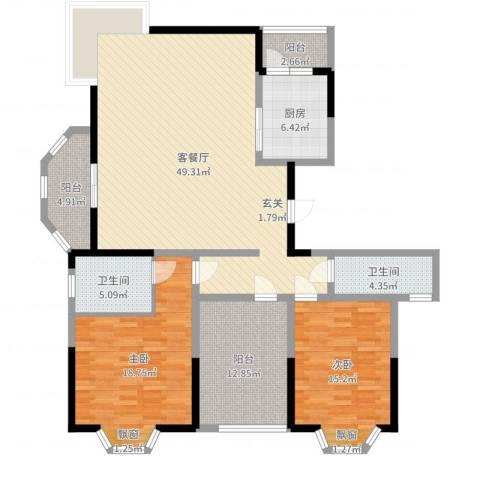 华府壹区2室2厅2卫1厨149.00㎡户型图