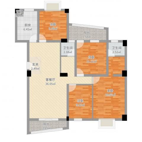 锦华金都4室2厅2卫1厨132.00㎡户型图