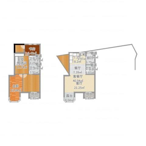 跃界2室2厅3卫1厨136.00㎡户型图