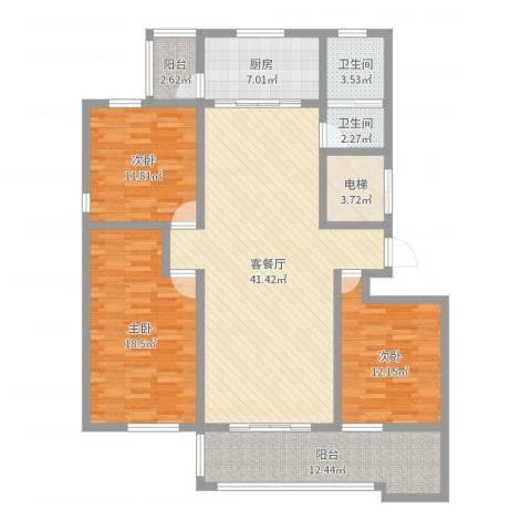 沭河花园3室2厅2卫1厨144.00㎡户型图