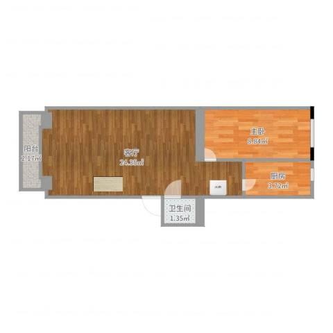 安华西里1室1厅1卫1厨51.00㎡户型图