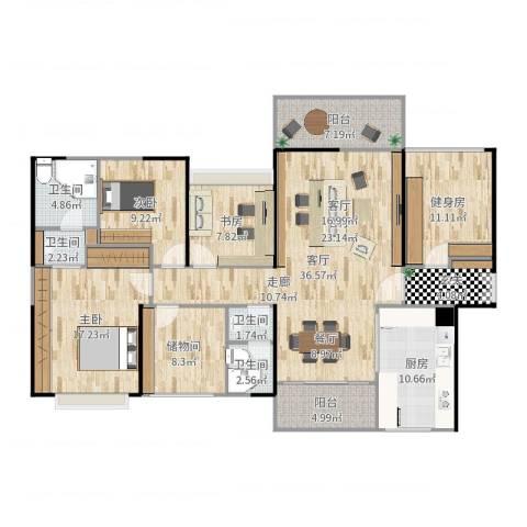 石湾帝庭国际3室1厅4卫1厨161.00㎡户型图