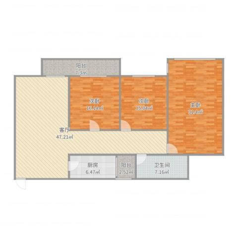 五福里3室1厅1卫1厨167.00㎡户型图