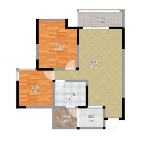 香榭国际2室2厅1卫1厨90.00㎡户型图