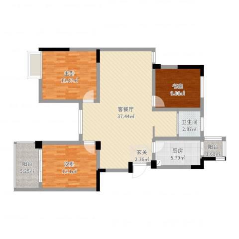 东方威尼斯3室2厅1卫1厨110.00㎡户型图