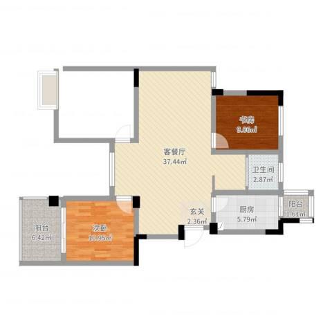 东方威尼斯2室2厅1卫1厨93.00㎡户型图