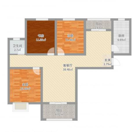 金园金色家园3室2厅1卫1厨117.00㎡户型图