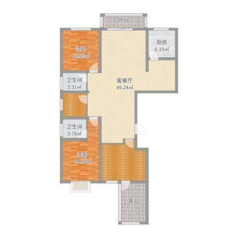 元氏龙湖湾2室2厅2卫1厨149.00㎡户型图