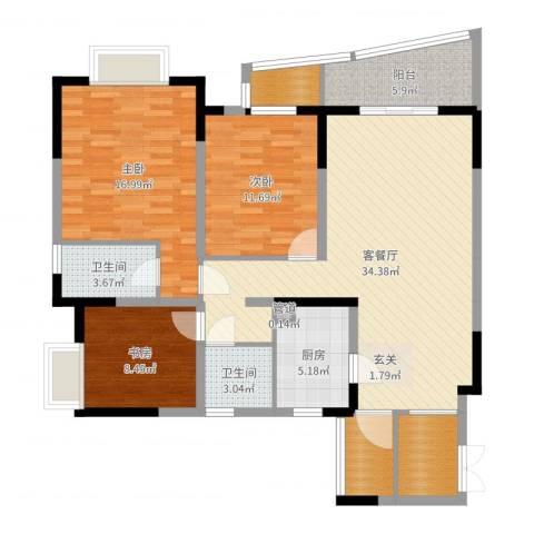 上海城二期3室2厅2卫1厨122.00㎡户型图
