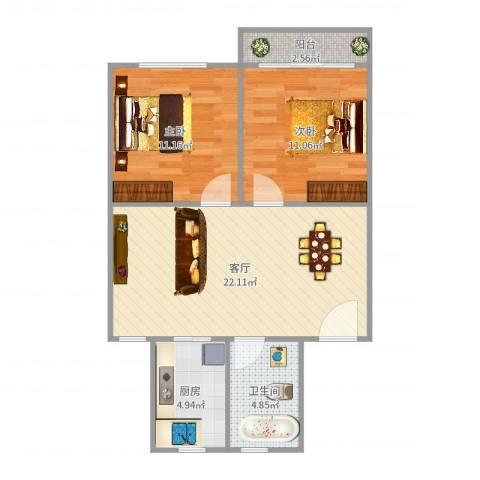 太湖花园二期2室1厅1卫1厨71.00㎡户型图