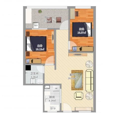 沿江花园2室1厅1卫1厨79.00㎡户型图