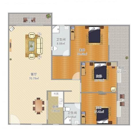 恒福阁3室1厅2卫1厨233.00㎡户型图