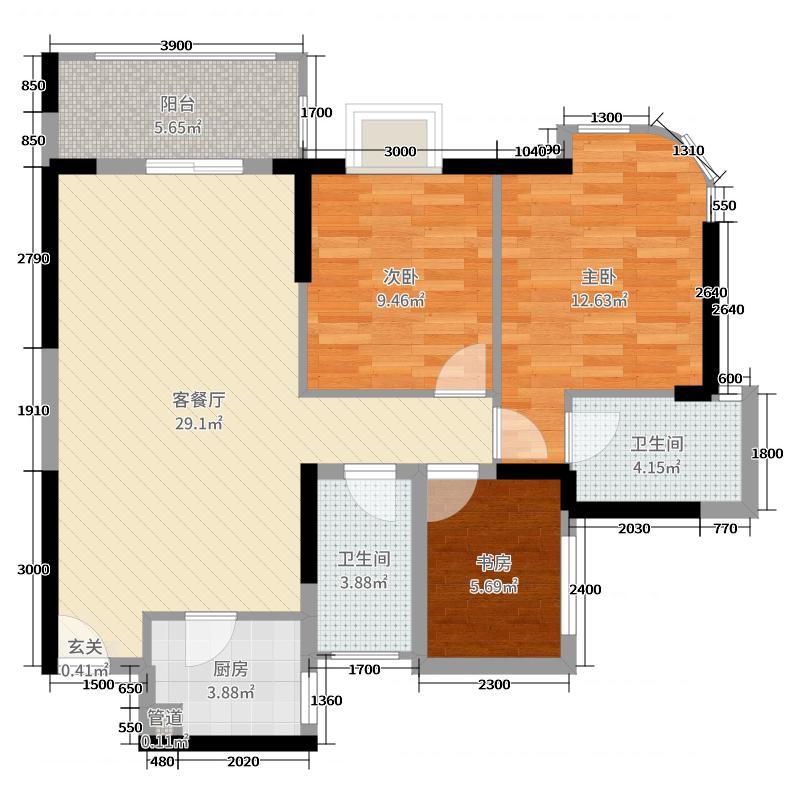 勤诚达22世纪二期89.00㎡7号楼05号户型2室2厅2卫1厨