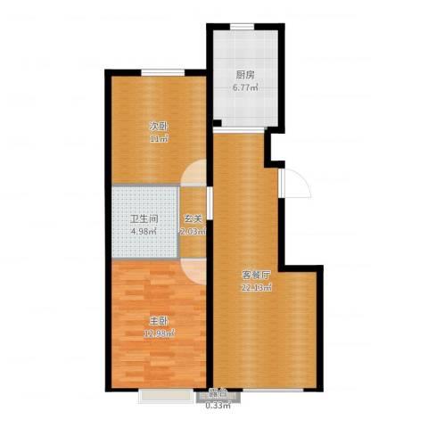 首地·浣溪谷2室2厅1卫1厨75.00㎡户型图
