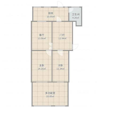 三潭西里2室1厅1卫1厨85.60㎡户型图