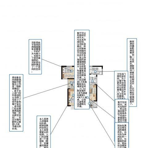 利港银河广场3室2厅1卫1厨89.00㎡户型图
