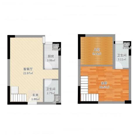 东岸公馆1室2厅2卫1厨73.00㎡户型图