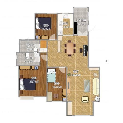 翡翠明珠3室3厅1卫1厨129.00㎡户型图