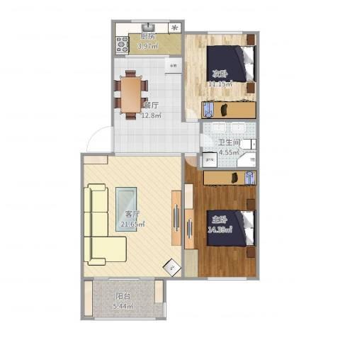 蓝天城市花园2室2厅1卫1厨92.00㎡户型图