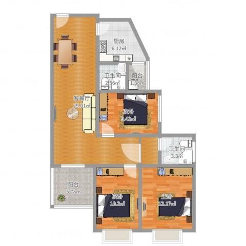 美好居3室2厅2卫1厨103.00㎡户型图