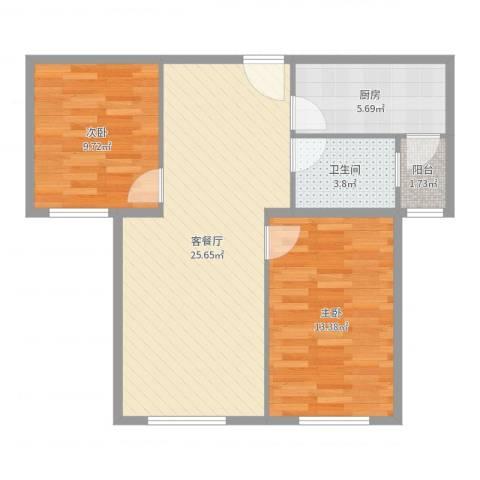 凯瑞国际2室2厅1卫1厨75.00㎡户型图