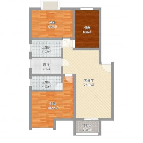 翰林湖畔3室2厅2卫1厨101.00㎡户型图