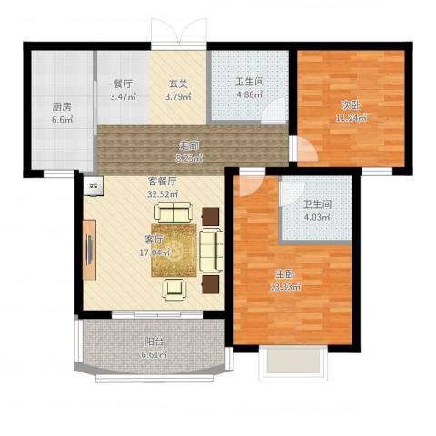 崇城国际2室2厅2卫1厨99.00㎡户型图