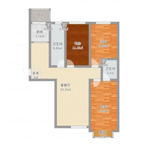 泰丰 时代城二期3室2厅2卫1厨112.00㎡户型图