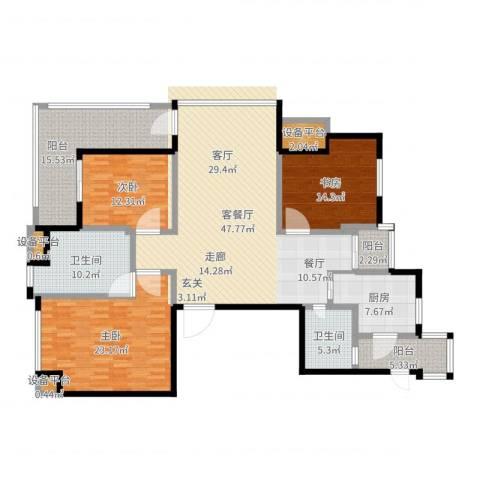 高新名门3室2厅2卫1厨184.00㎡户型图